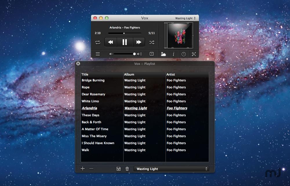 Mac 聽 Flac , OGG 音樂格式的免費播放器 – Vox (Free))